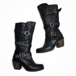 Eric Michael Tall Heeled Boots Buckle Black